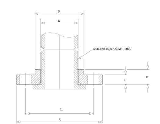 Lap Joint Flange dimensions